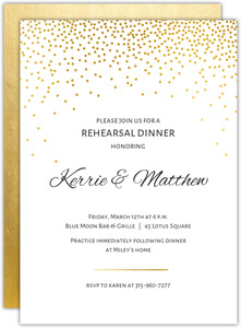 Elegant Gold Confetti Rehearsal Dinner Invitation