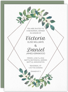 Diamond Frame Greenery Rehearsal Dinner Invitation