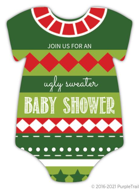 Christmas Spirit Sweater Baby Shower Invitation