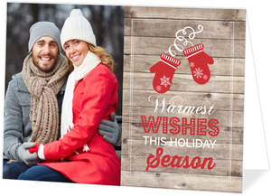 Red Gloves Woodgrain Holiday Photo Card
