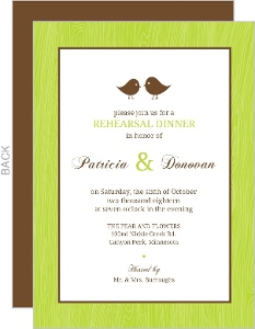 Custom rehearsal dinner invitations brown and green love birds wedding rehearsal dinner invitation junglespirit Image collections