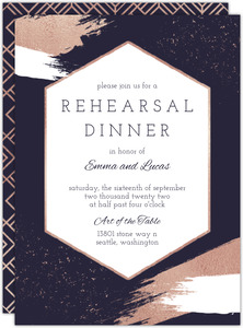 Faux Rose Gold Modern Brushstroke Rehearsal Dinner Invitation