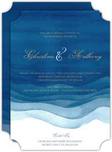 Elegant Blue Watercolor Wash Wedding Rehearsal Invitation