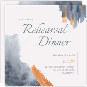 Modern Grey Watercolor Rehearsal Invitation