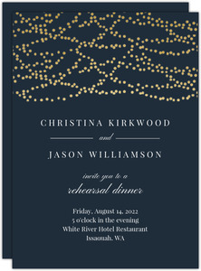 Gold Dangling Lights Rehearsal Dinner Invititation