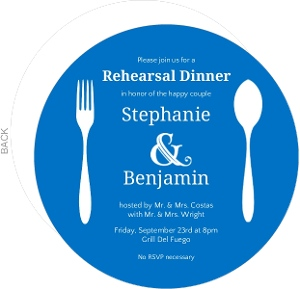 Blue And White Contemporary Rehearsal Dinner Invitation