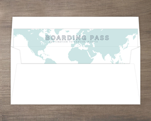Tropical Destination Boarding Pass Wedding Envelope Liner