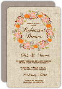 Fall Pumpkin Wreath Rehearsal Dinner Invitation