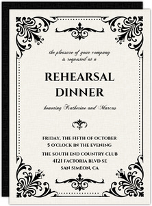 Black and White Victorian Rehearsal Dinner Invitation