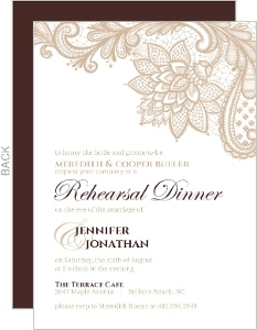 Custom rehearsal dinner invitations brown and white floral lace wedding rehearsal dinner invite junglespirit Image collections