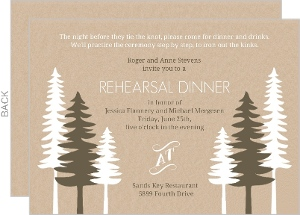 Rustic Pine Trees Rehearsal Dinner Invitation