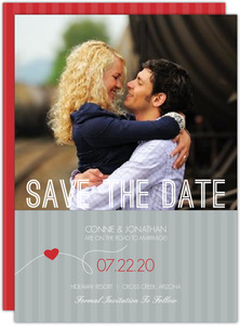 Red and Gray Journey  Wedding Save the Date