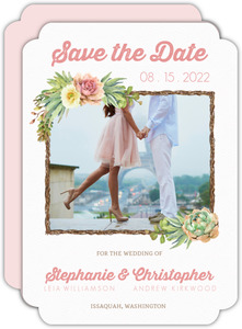 Whimsical Succulents Wedding Save the Date Card