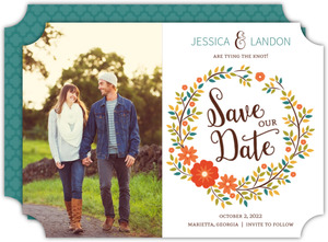 Autumn Foliage Wreath Save The Date Announcement