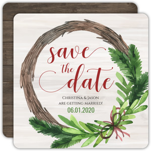 Christmas Wreath Wedding Save The Date