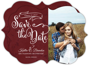 Rustic Red Frame Halloween Save The Date
