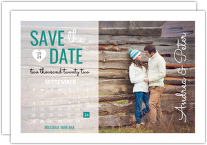 Teal Calendar Postcard Save The Date Announcement
