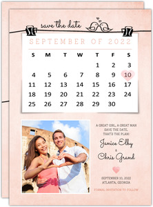 Cute Watercolor Pink Save The Date Card