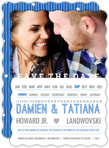 Modern Horizontal Calendar Save The Date Card