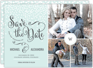 Blue Winter Snowfall Save The Date Announcement