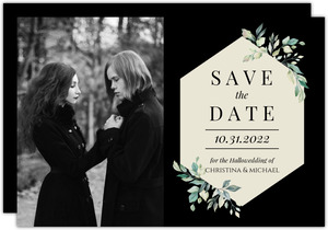 Diamond Greenery Frame Save The Date