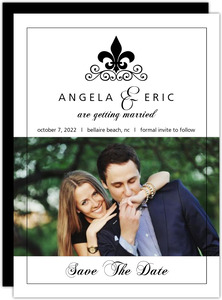 Black and White Fleur De Lis  Save The Date Announcement