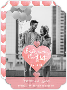 Romantic Watercolor Heart Save The Date Announcement