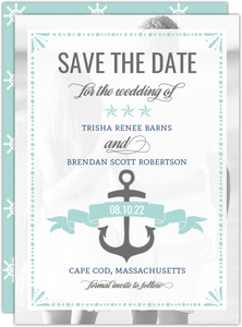 Nautical Mint and Gray Save The Date Announcement