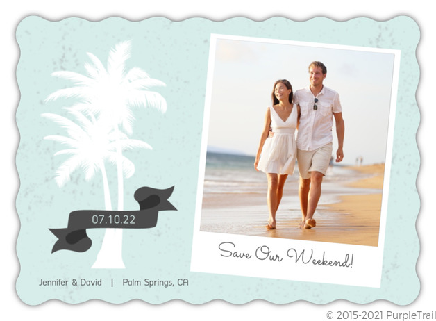 White Palm Tree Beach Save The Date Announcement