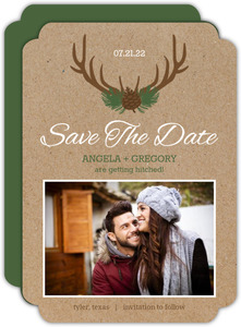 Rustic Deer Antlers Save The Date Announcement