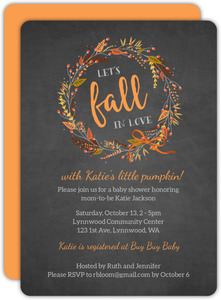Rustic Chalkboard Autumn Wreath Baby Shower Invitation