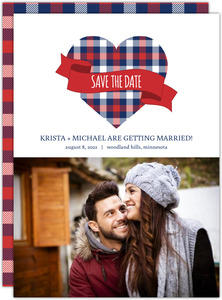 Country Plaid Save The Date Announcements