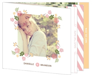 Soft Pink Whimsical Florals Save The Date Card