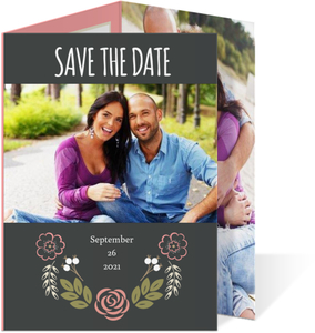 Floral Garden Monogram Save The Date Announcement