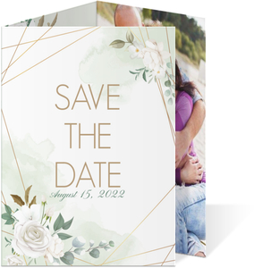 Floral White Garden Save The Date Card