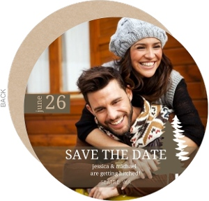 Rustic Pine Trees Save The Date Card