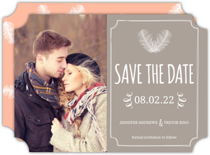 Taupe and Peach Feather Save the Date
