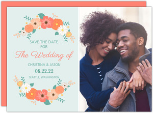 Mint Coral and Peach Country Floral Save The Date Announcement
