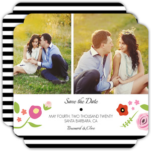 Bright Florals And Black Striped Save the Date