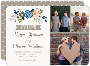 Soft Blue and Taupe Floral Save The Dates