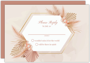 Elegant Pampas Grass Wedding Response Card