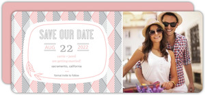 Pink And Gray Geometric Arrows Save The Date Announcement
