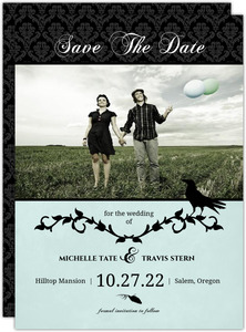 Rustic Black Vines and Crow  Halloween Save The Date