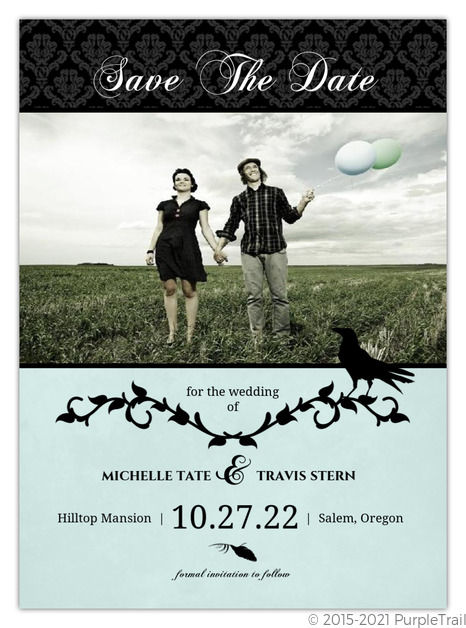 Rustic Black Vines And Crow Halloween Save The Date Save The Date