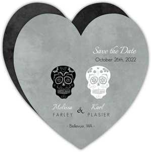 Fancy Skulls Gray  Halloween Save the Date