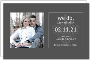 Gray and Elegant White Flourish  Save The Date