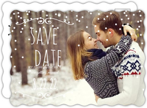 Whimsical Winter Flourish Save The Date Announcement