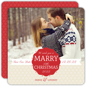 Red Scallop Frame Christmas Save The Date Announcement