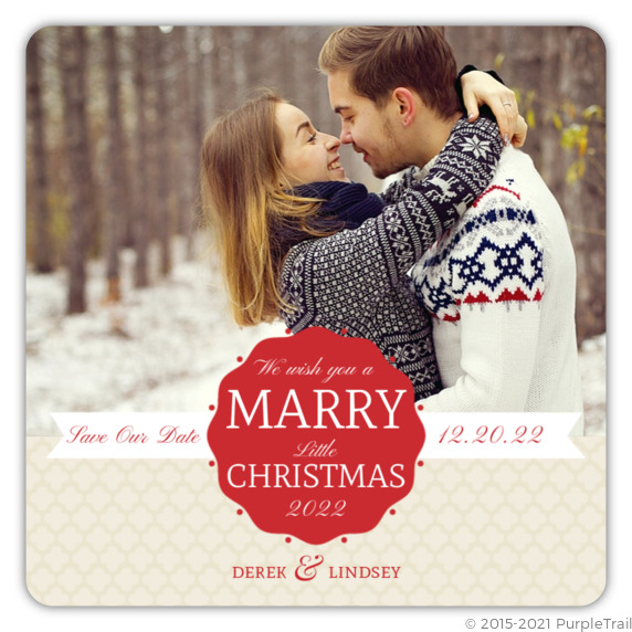 Christmas Save The Date Cards.Red Scallop Frame Christmas Save The Date Announcement