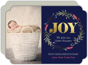 Gold Foil Christmas Wreath Holiday Photo Card
